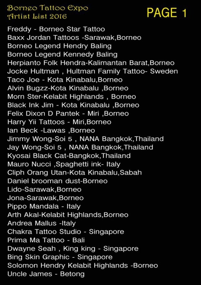 Borneo Tattoo Expo Artist List 2016-min