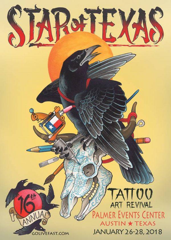 Star Of Texas Tattoo Art Revival 2018 Poster