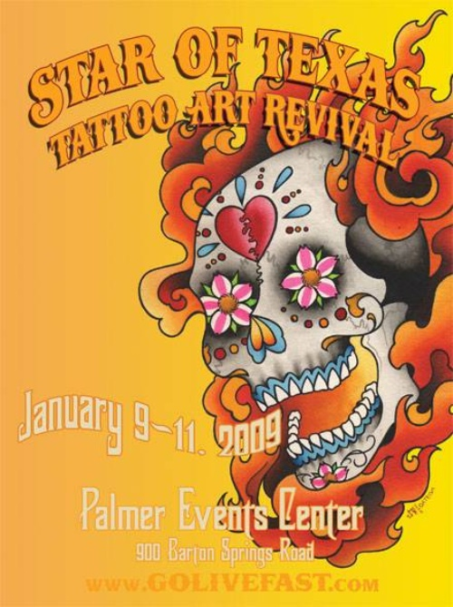 Star Of Texas Tattoo Art Revival 2009 Poster