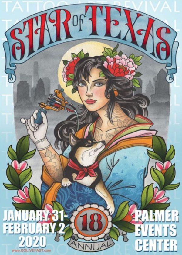 Star Of Texas Tattoo Art Revival 2020 Poster